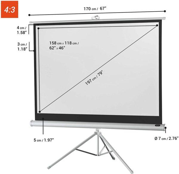 """62"""" X 62"""" Tripod Projector Screen"""