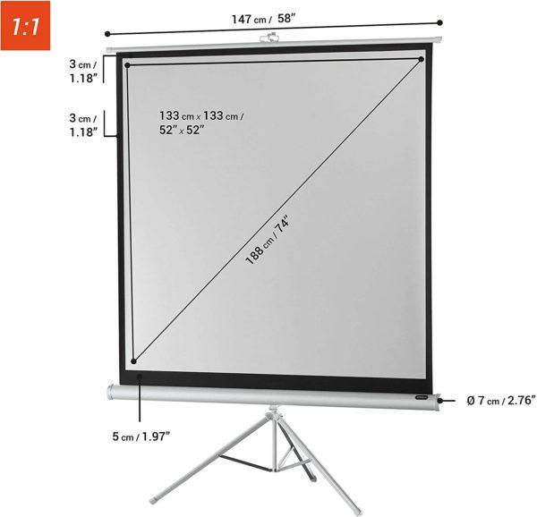 """52"""" X 52"""" Tripod Projector Screen"""