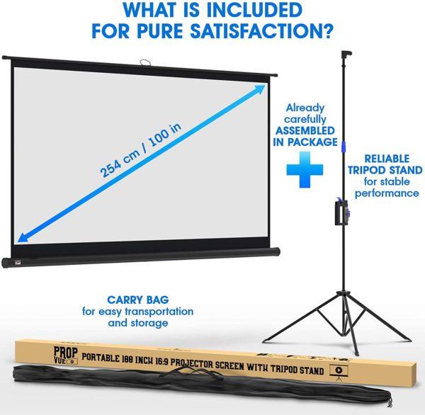 """100"""" X 100"""" Tripod Projector Screen"""
